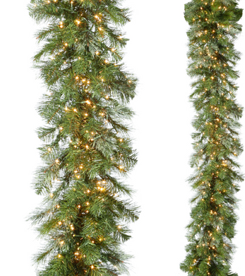 9' Snake Light Green Mixed Cedar & Pine Garland