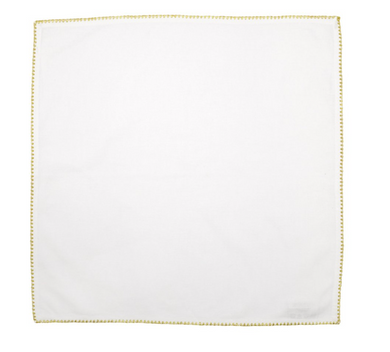 Cotone Linens Ivory Napkins with Gold Stitching - Set of 4