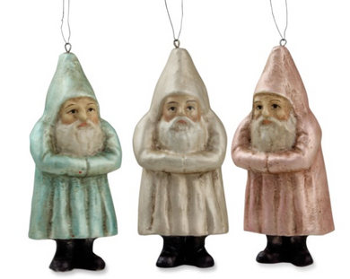 Small Pastel Santa Ornaments, Assorted Colors