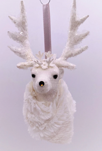 "Stag with Crown Ornament 3.5"" x 6"" - Cream, Bisque Fur"