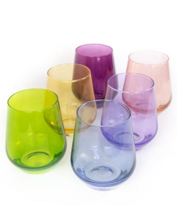 Colored Wine Stemless, Mixed Set of 6