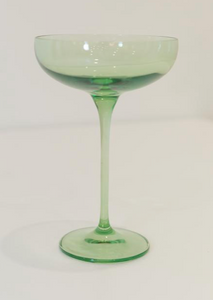 Colored Champagne Coupe Stemware - Mint Green