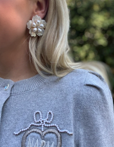 MOTHER OF PEARL + PEARLY FLORAL STUD
