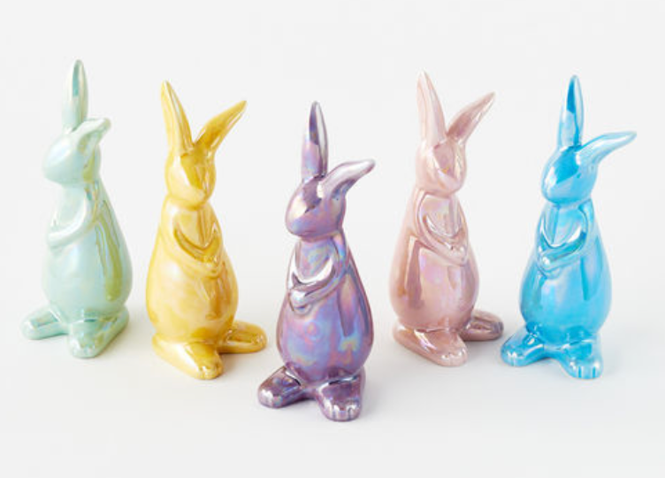 Irridescent Cermaic Bunny, 5 Assorted Colors