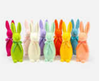 Flocked Button Nose Bunny, Medium - 10 Assorted Colors