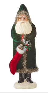 "16.5"" Hunter Green Velvet Santa with Stocking"