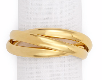 Three Gold Plated Rings-Set of 4