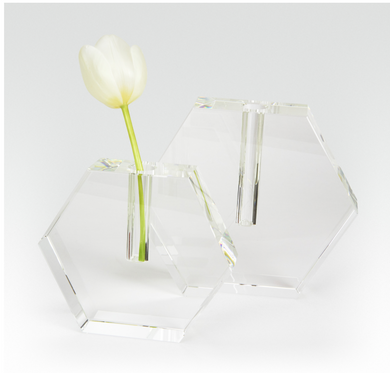 Small Crystal Hex Vase