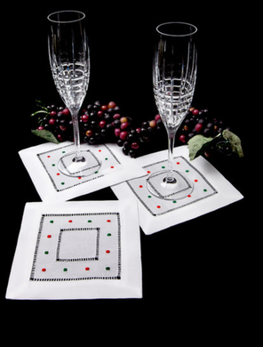 Red and Green Christmas Dot Cocktail Napkins