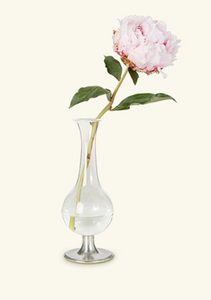 "Pewter Footed Glass Vase, 8"" H"
