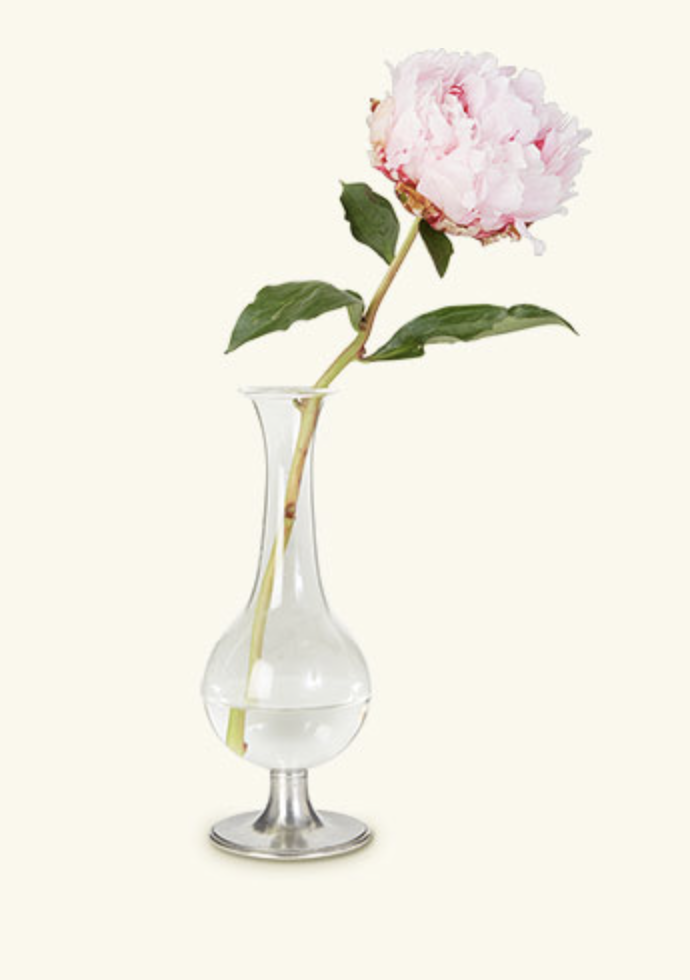 Pewter Footed Glass Vase, 8