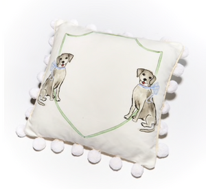 Puppy Dog with Blue Bow Pillow