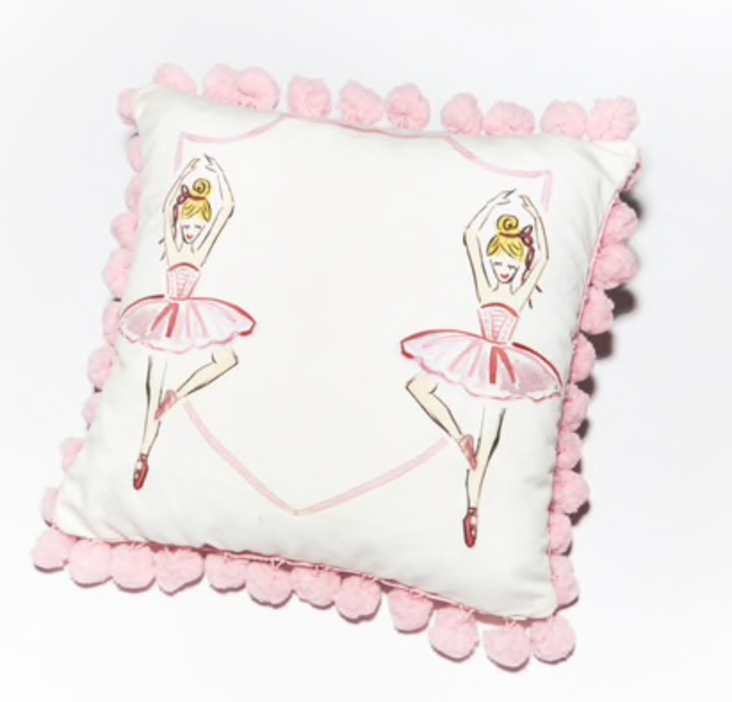 Ballerina Pillow with Pink Pom Poms