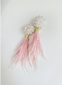 Pearl Cluster and Pink Feather Earrings