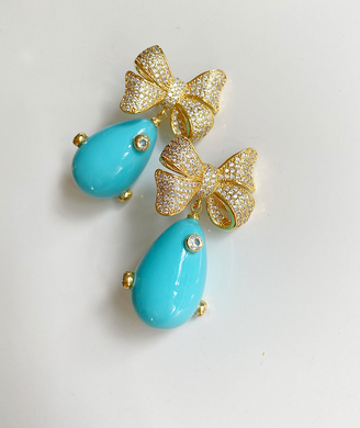 Pave Bow and Turquoise Embellished Drop