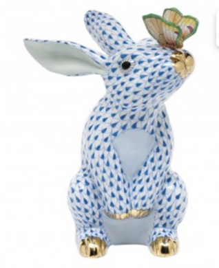 Bunny with Butterfly in Blue