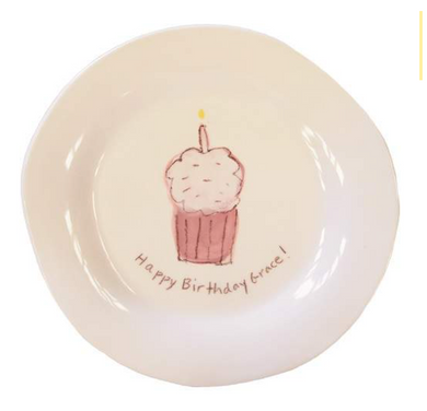 Cupcake Character Plate on White in Pink