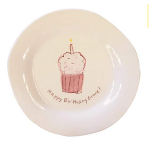 "Cupcake Character Plate on White in Pink ""Happy Birthday!"""