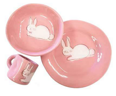 Dish Set in Pink w/Bunny