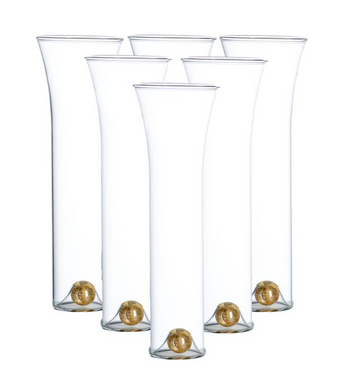 Golden Champagne Set, Clear, Set of 6