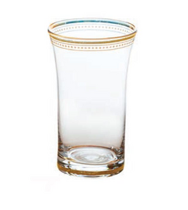 Clear Glass Tumbler with Gold Accent
