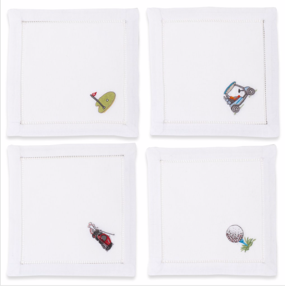Golf Mixed Cocktail Napkins - Set of 4