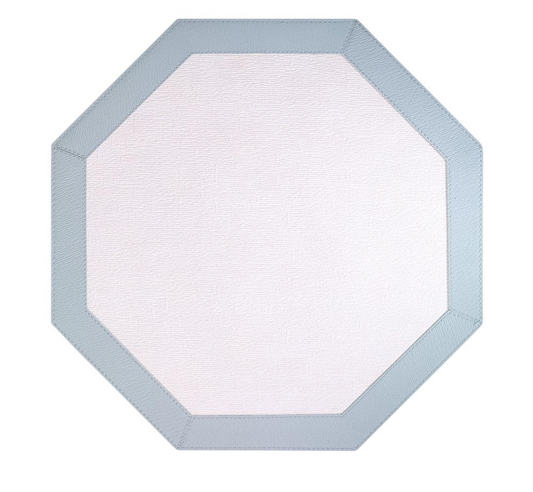 Bordino Ant White/Celadon Octagon Mats Set of 4