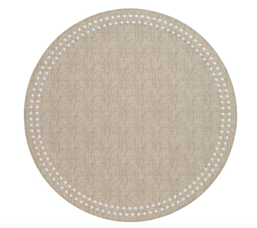 Pearls Beige/White Mats Set of 4