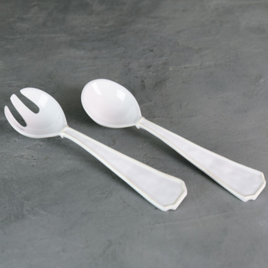 VIDA Charleston Large White Salad Servers  - LARGE