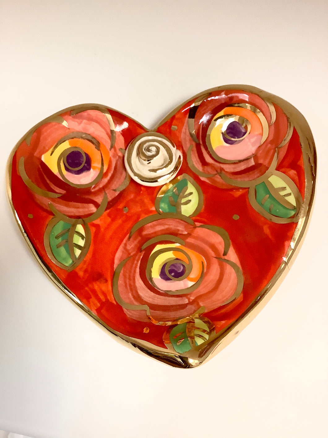 Rose Studded Heart Soap Dish