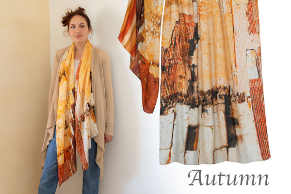 scarf by seahorse silks for autumn tone lady