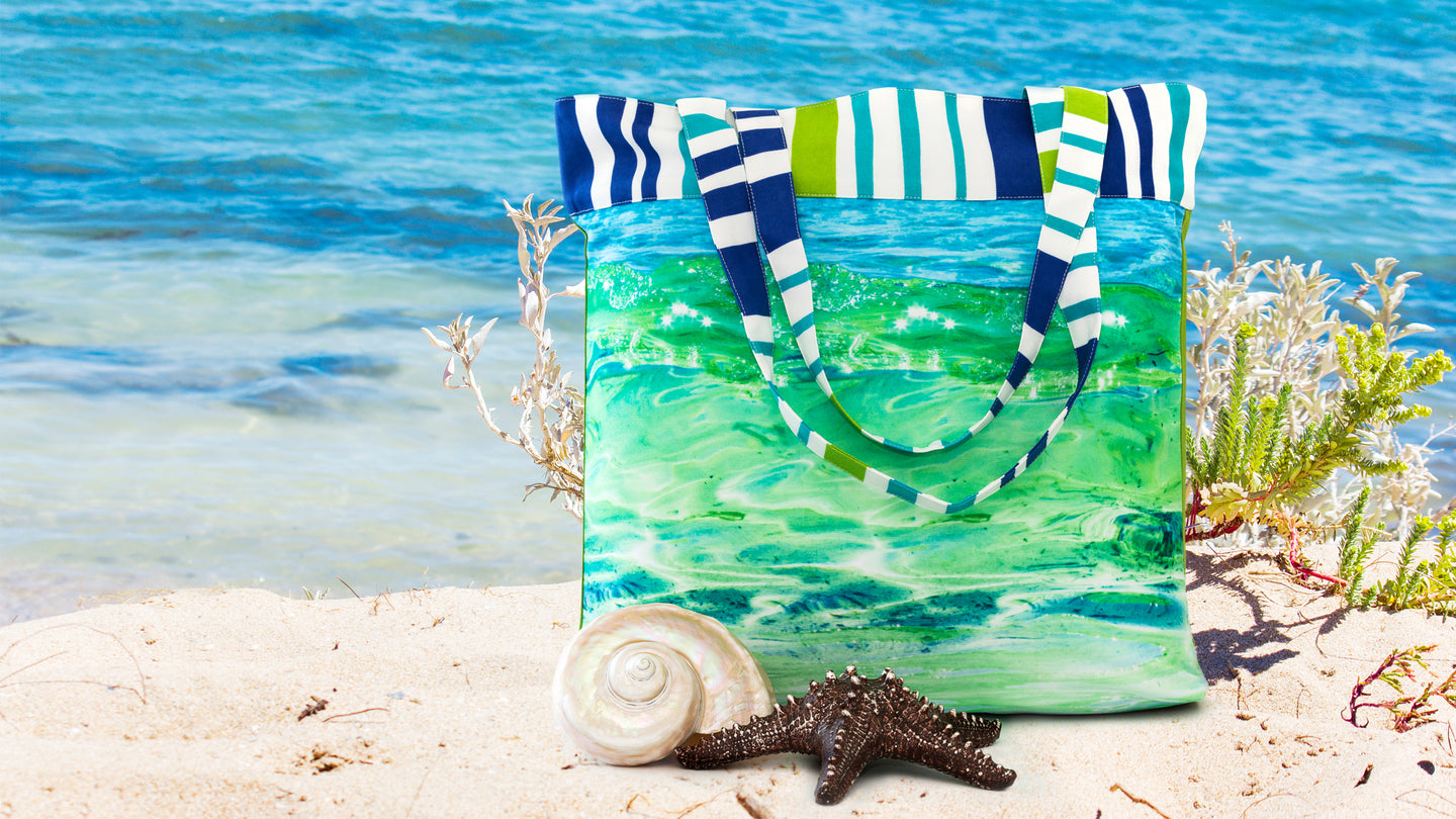 glass wave canvas tote bag at the beach