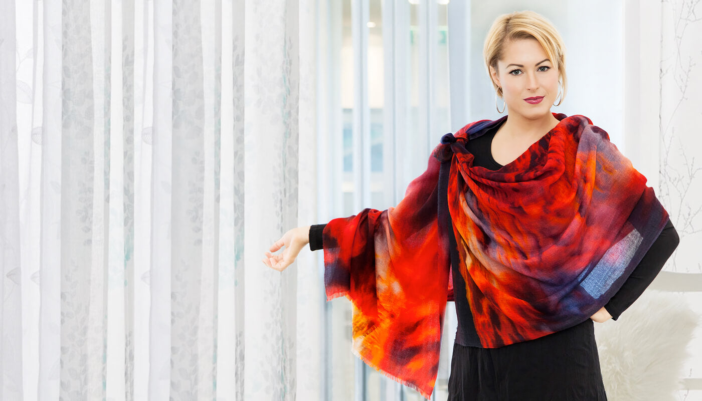 red hot cashmere wool scarf shawl pashmina by seahorse silks