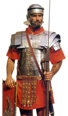 roman soldier uniform showing red neck scarf