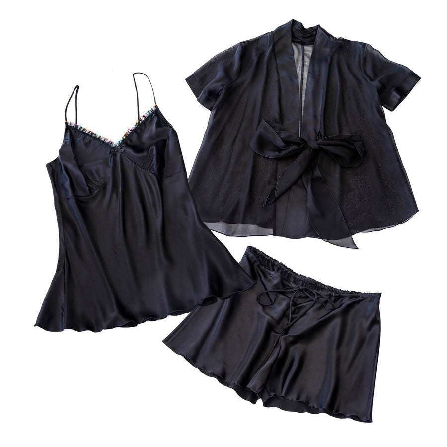 ebony 3 piece silk pyjama set by seahorse silks