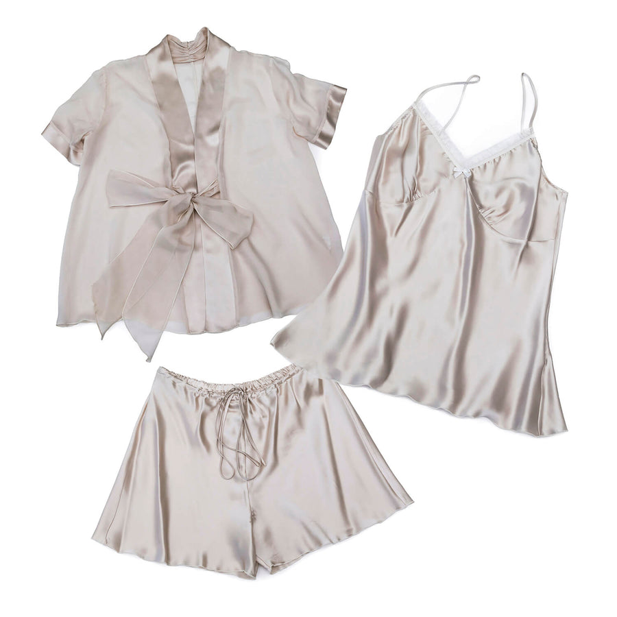 3 piece silk pyjama set in platinum by seahorse silks