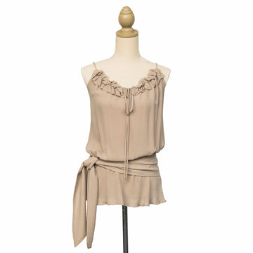 front latte ruffle neck silk camisole with sash by seahorse silks