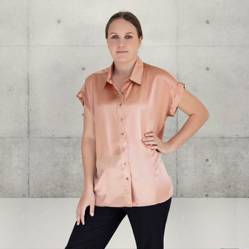 blush essential silk satin shirt with black pants by seahorse silks