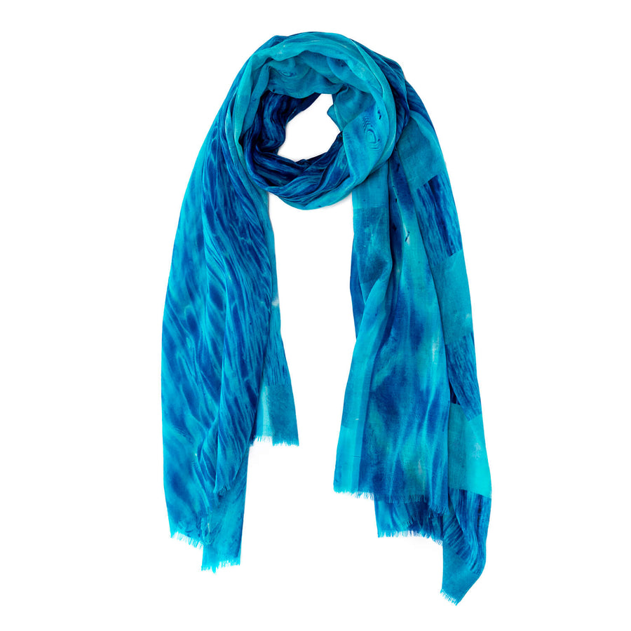 clear blue scarf of wool and cashmere by seahorse silks