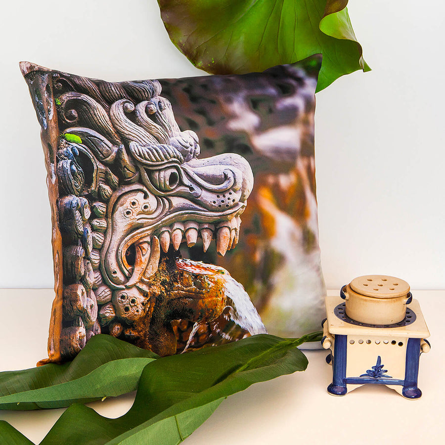 bali theme dragon spout square satin photo cushion