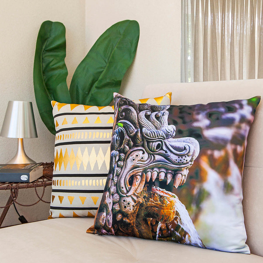 dragon spout photo cushion on chair by seahorse silks