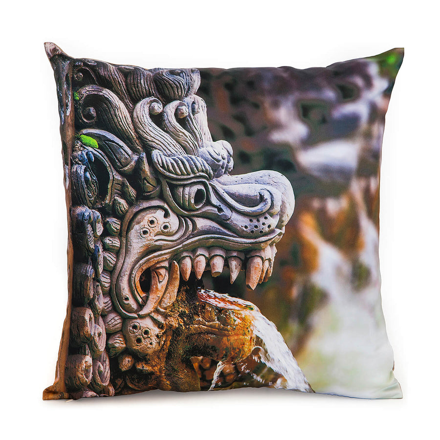 front of dragon spout square satin photo cushion