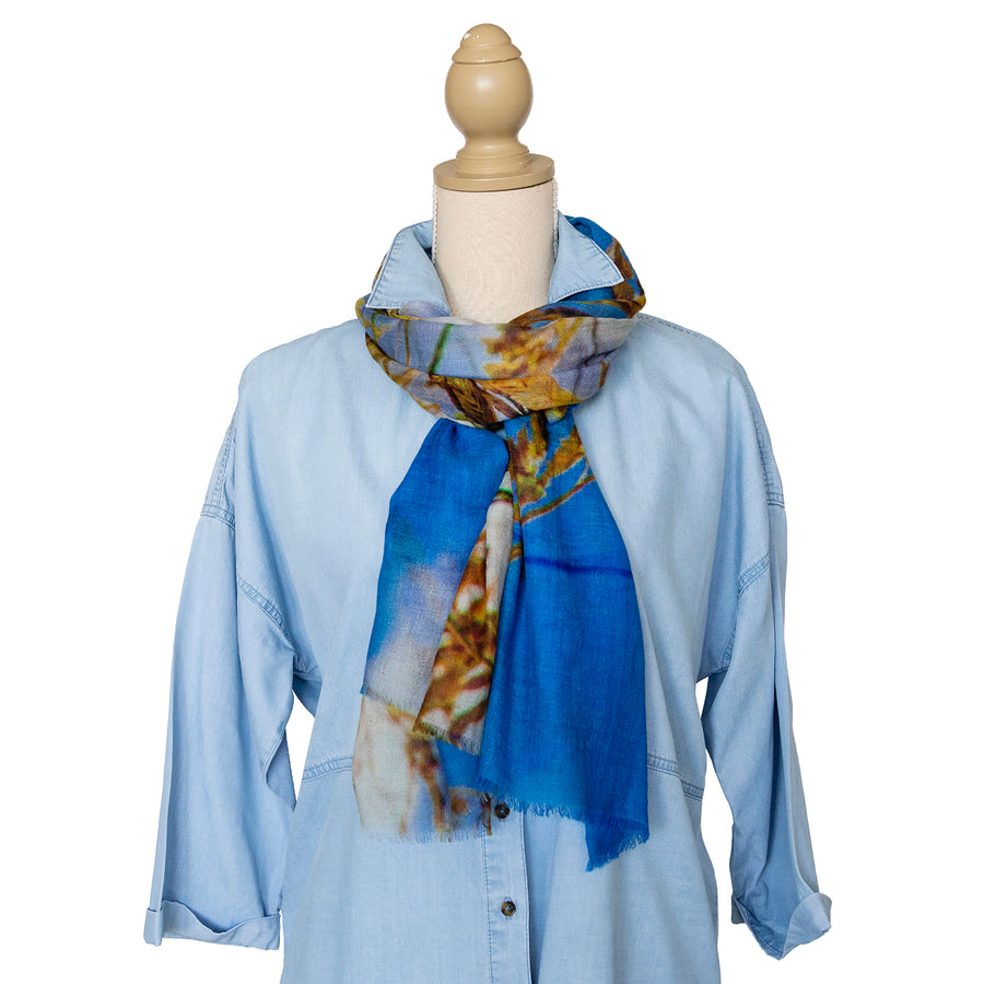 dune grass wool cashmere scarf with chambray shirt by seahorse silks
