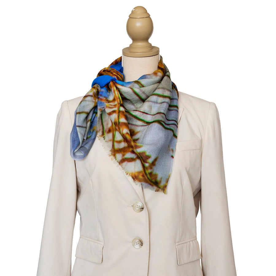 dune grass wool cashmere scarf with cream jacket by seahorse silks