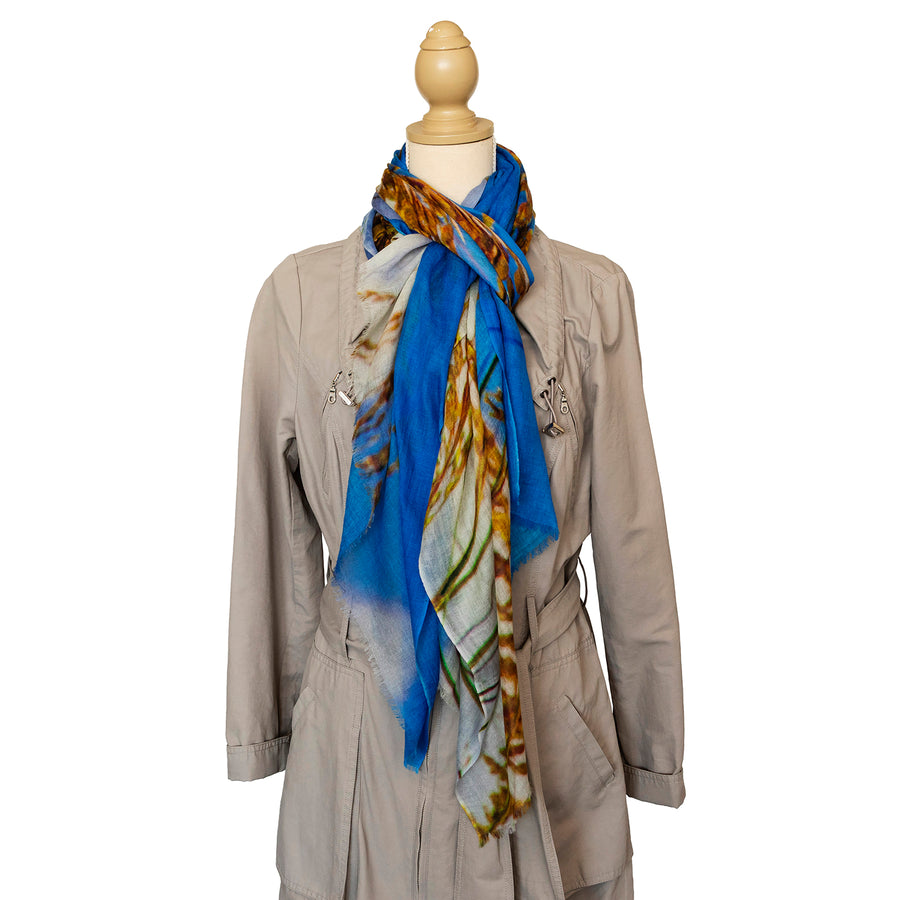 dune grass wool cashmere scarf with trench coat by seahorse silks