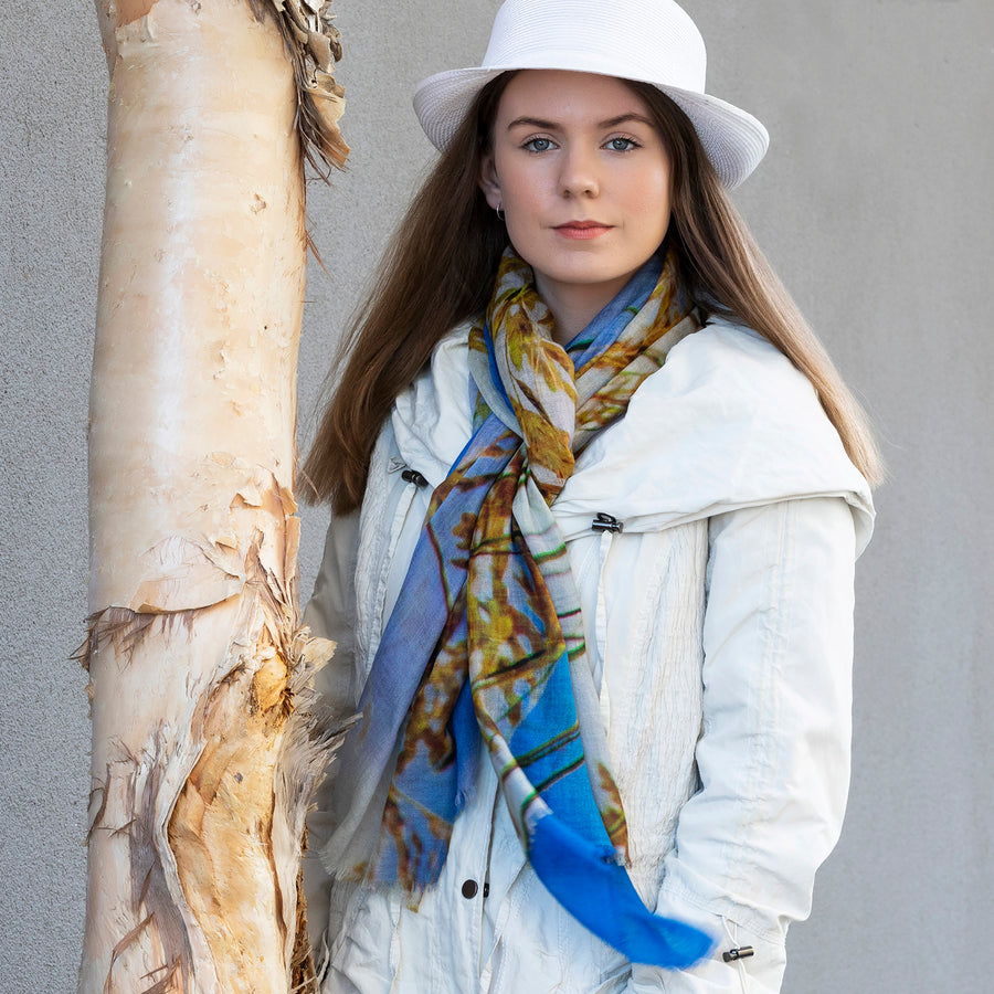 dune grass wool cashmere scarf with white coat by seahorse silks