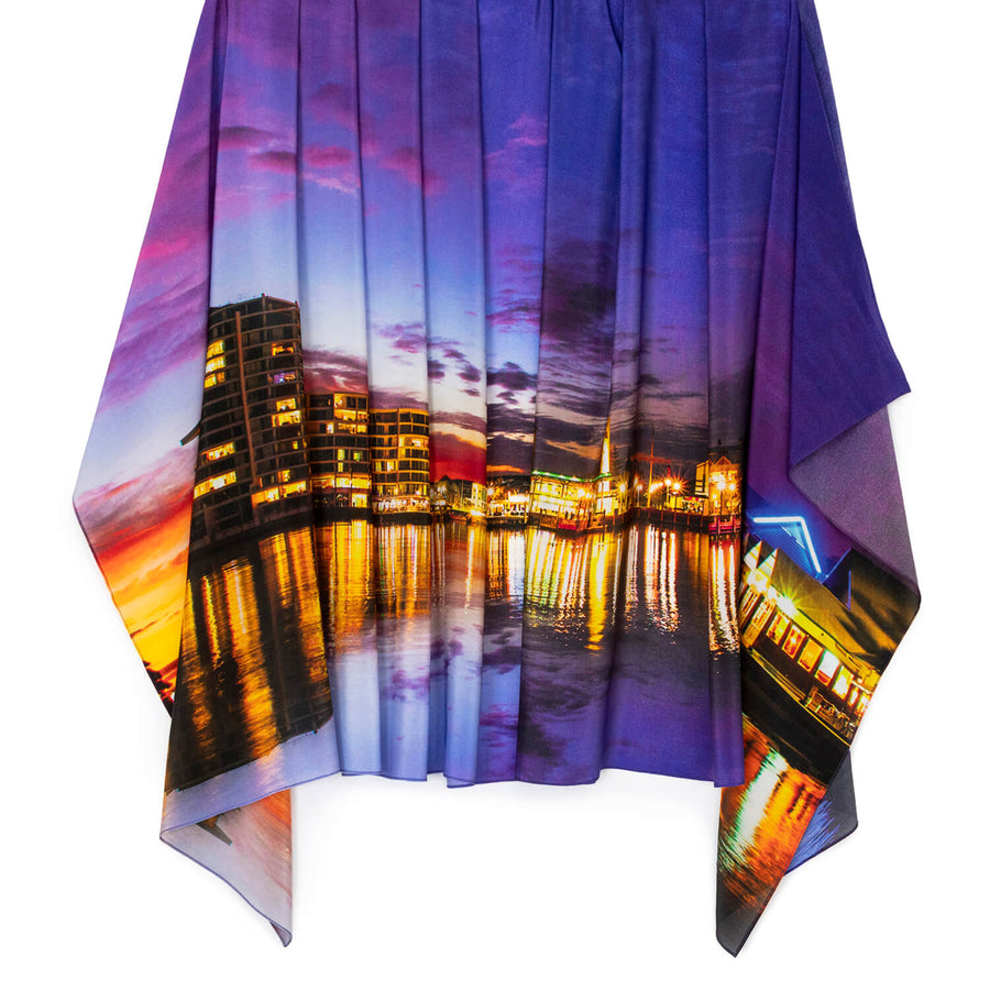 dusk on the inlet silk scarf pashmina by seahorse silks