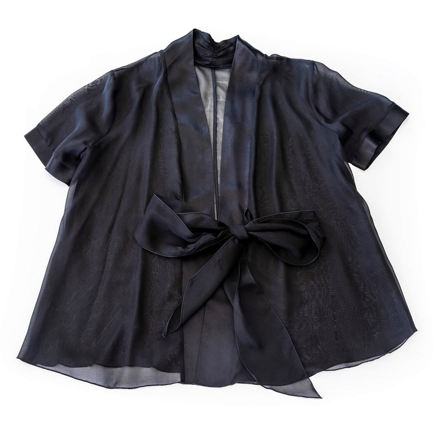 jacket of ebony black 3 piece pyjama set by seahorse silks
