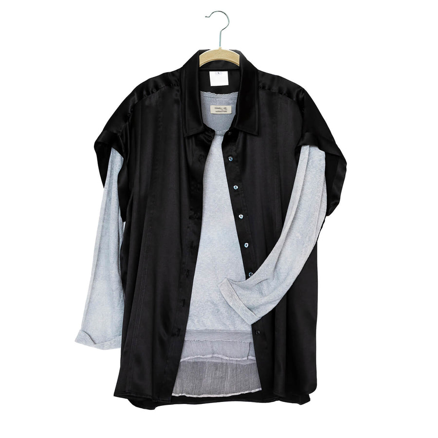 ebony black essential silk shirt with grey top by seahorse silks