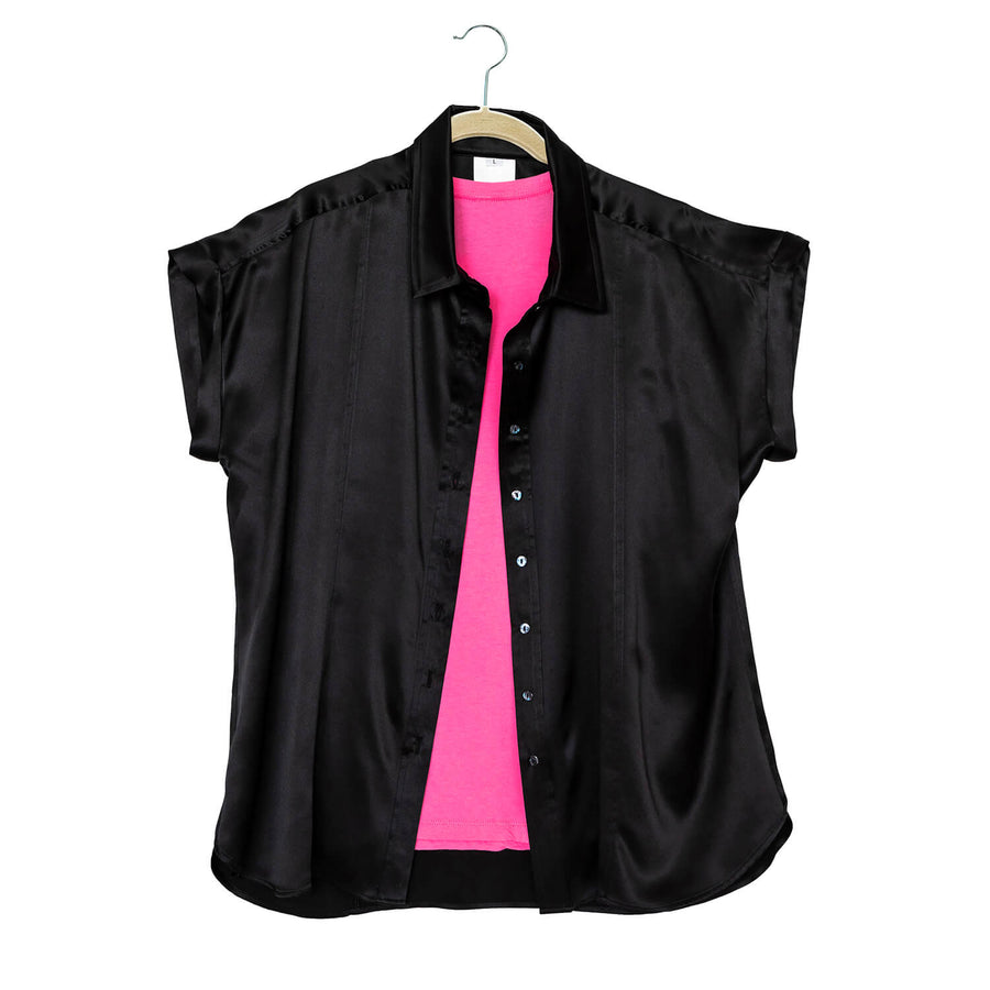 ebony black silk essential shirt with pink top by seahorse silks
